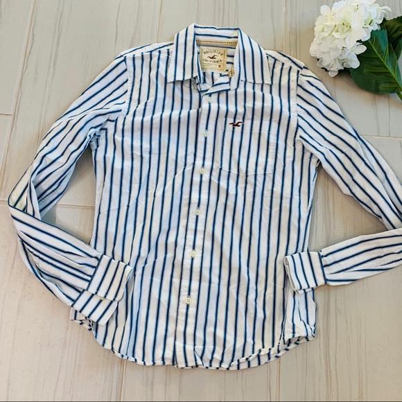 Hollister Tops - Holister Blue/White Strip Button Down Shirt M
